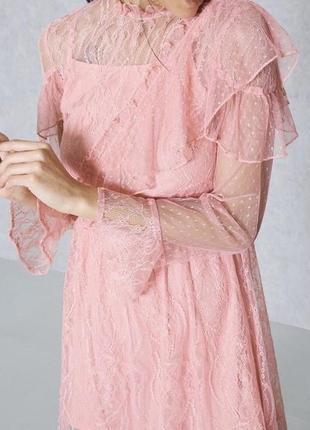 Нежное розовое платье двойка