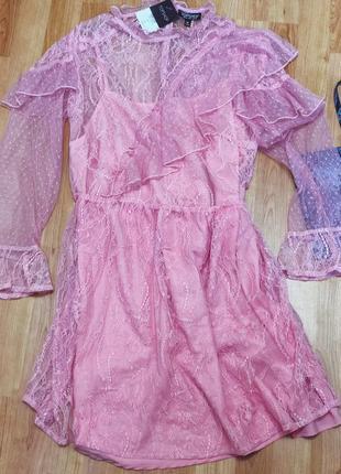 Нежное розовое платье двойка5 фото