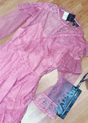 Нежное розовое платье двойка1 фото