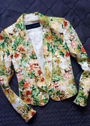Цветочный пиджак,летний пиджак zara