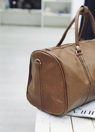 Акция! дорожная сумка эко кожа сумка для ручной клади коричневая / самовывоз киев2 фото