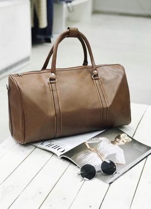 Акция! дорожная сумка эко кожа сумка для ручной клади коричневая / самовывоз киев3 фото