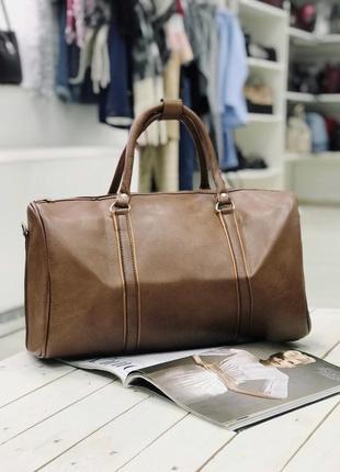 Акция! дорожная сумка эко кожа сумка для ручной клади коричневая / самовывоз киев5 фото