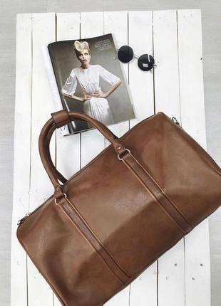 Акция! дорожная сумка эко кожа сумка для ручной клади коричневая / самовывоз киев4 фото
