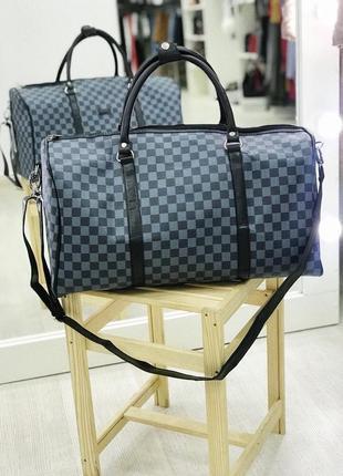 Акция! дорожная сумка эко кожа сумка для ручной клади в шашку / самовывоз киев