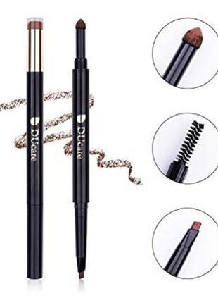 Карандаш для бровей 3-в-1 ducare 3-in-1 brow pencil, powder and brush