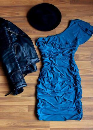 Праздничное бирюзовое платье1