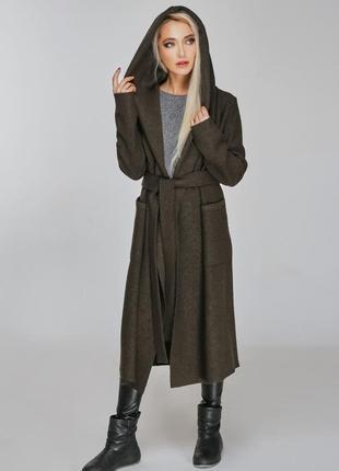 Marani пальто кардиган с капюшоном шерстяное хаки