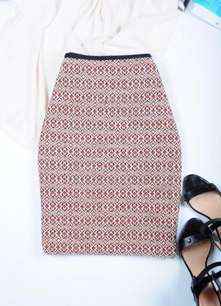Крута жаккардовая/ твидовая , деловая юбка marks&spencer