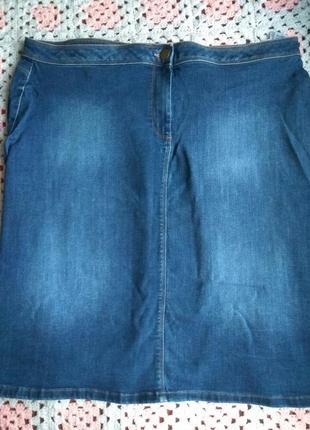 Джинсовая юбка миди. большой размер m&s
