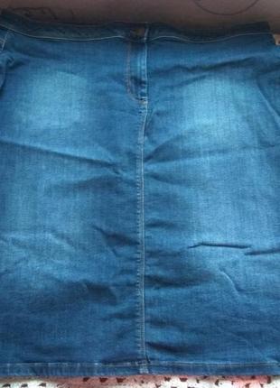 Джинсовая юбка миди. большой размер m&s3 фото