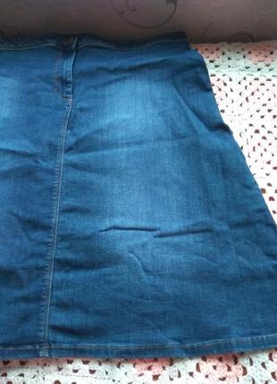 Джинсовая юбка миди. большой размер m&s4 фото