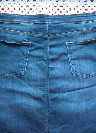 Джинсовая юбка миди. большой размер m&s7 фото