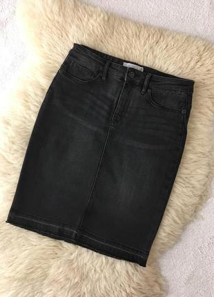 Джинсовая юбка миди h&m1 фото