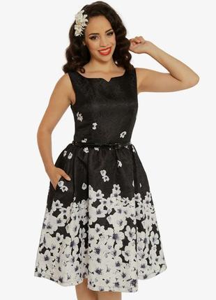 Платье миди фактурное нарядное пышная юбка карманчики р 14 lindy bop