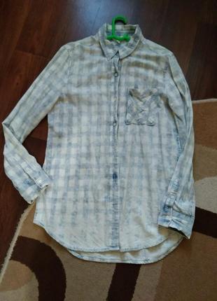Брендовая джинсовая рубашка варенка aeropostale.