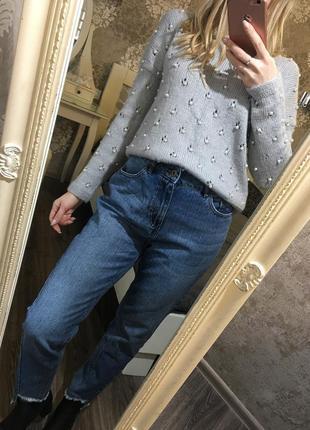 Тёплый свитер в жемчуг 30% шерсть!