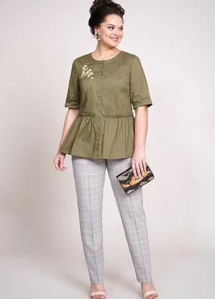 Комплект костюм брючный блуза баска нарядная большой размер 56 58