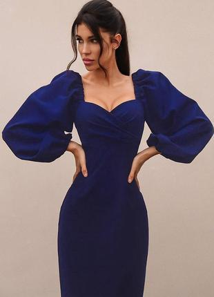 Распродажа !! новое платье миди с объёмными рукавами и красивой линией декольте zara