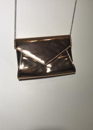 Шикарная сумка металлик на цепочке