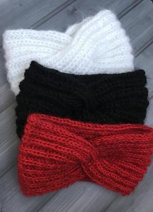 Мохеровая повязка чалма пушистая, чёрная красная белая чалма