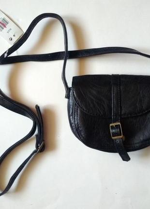 Новая черная маленькая круглая сумочка из эко кожи мини сумка кроссбоди