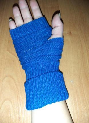 Ярко-синие митенки