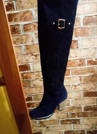 Натуральные замшевые ботфорты,тёмно-синий цвет,очень красивый цвет,европейка