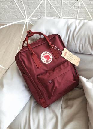 Рюкзак сумка канкен kanken fjallraven classic 16l топ качество бордовый лого рефлектив