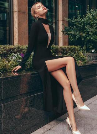 🖤 шикарное расклешенное платье миди с воротником чокером и разрезом