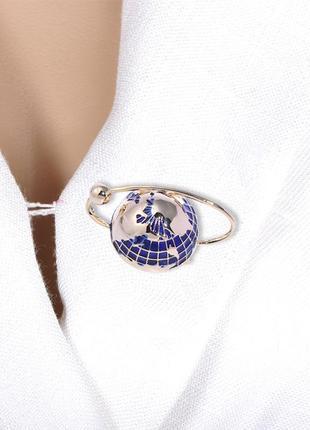 Брошь с эмалью глобус brbf110993 синяя