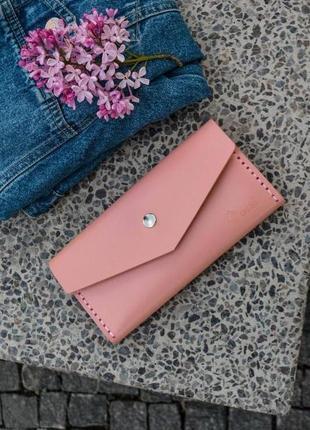 Кожаный кошелек ручной работы orsi star розовый