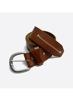 Fat face m / мужской коричневый кожаный ремень со стильной строчкой