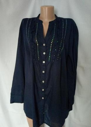 Стильная тоненькая натуральная блуза, пайетки, большой размер  №7bp