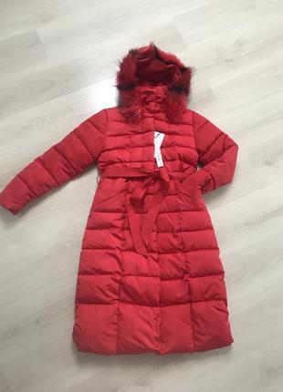Пуховик длинный красный пуховик зимние пальто зимняя куртка с мехом