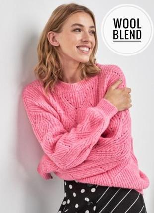Очень красивый ажурный розово-пудровый свитерок бренд f&f