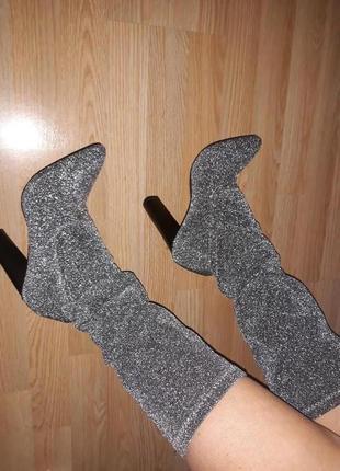 Новые шикарные сапоги чулки серебряные металлик 1+1=3