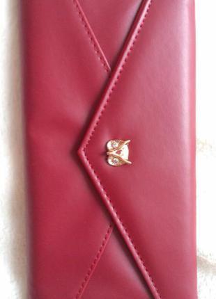 Новый кошелек бордового цвета с совушкой