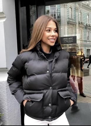 Новая чёрная куртка зефирка, дутыш с карманами