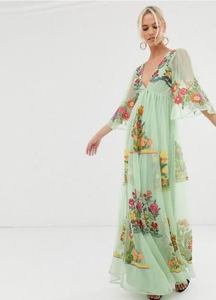 Asos неймовірна зелена вишита шифонова сукня