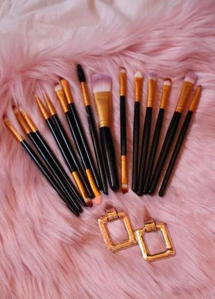 Набор кистей кисти для макияжа 15 шт качественный новый черная ручка