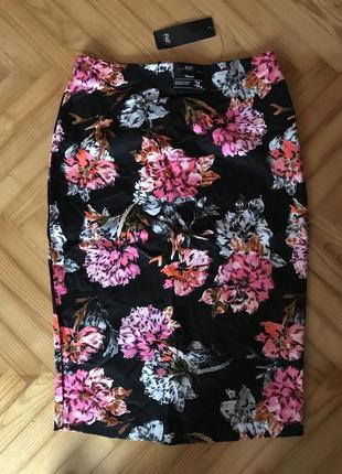 F+f, новая хлопковая юбка карандаш в цветочный принт! р.-40