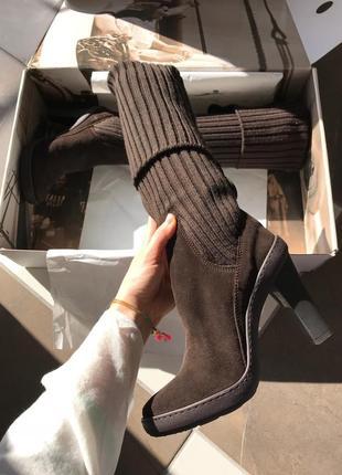 Новые сапоги - ботфорты на каблуке из натуральной замши voile blanche, италия