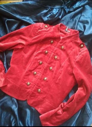 Винтажный бархатный велюровый красный жакет пиджак винтаж ретро