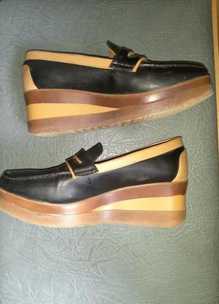 Туфли лоферы на платформе