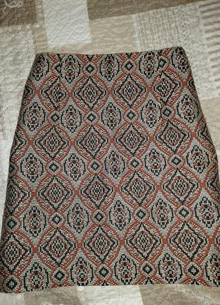 H&m короткая тёплая юбка в этно принт m/l