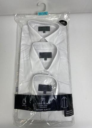 Приталенный набор классических белых рубашек marks & spencer 39 - 40 р. s, m