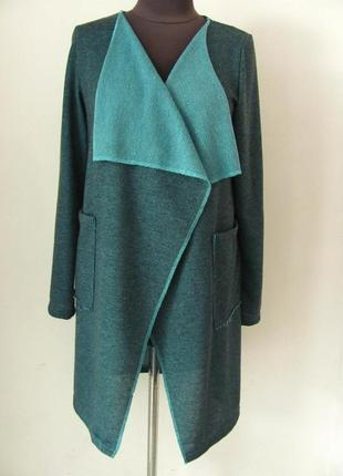Стильный женский жакет (накидка без застежки) с карманами из меланжа, 3965м