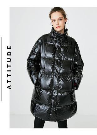 Куртка пуховик пальто оверсайз selected натуральный пух лаковая виниловая черная