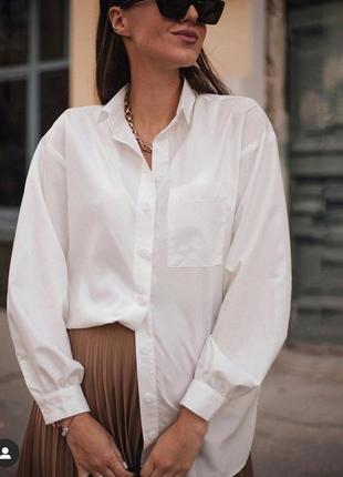 Белая классическая рубашка h&m сорочка трапеция біла класична трапеція хлопковая